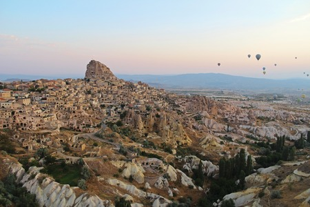 Town of Uchisar at the sunrise, Cappadocia