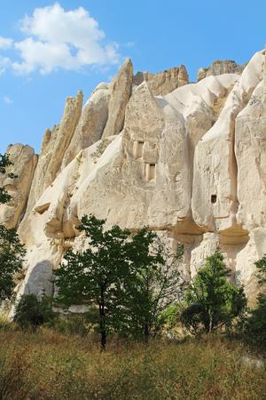 Natural Meskendir valley with volcanic tuff stone rocks in Goreme in Cappadocia, Central Anatolia region of Turkey. Popular tourist destination in Turkey for trekking.