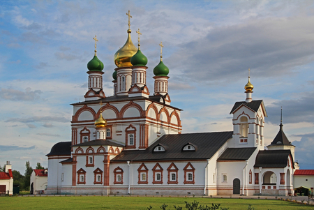 The Sergius of Radonezh Cathedral in the Trinity-Sergius Varnitsky monastery on outskirts of city of Rostov in the village of Varnitsa, Yaroslavl Region. Birthplace of Holy Russian Orthodox Church of