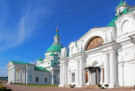 Architectural ensemble of Spaso-Yakovlevsky (St. Jacob Savior) monastery in a summer day. Rostov Velikiy, Russia.