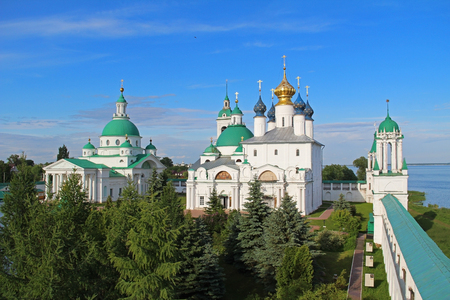 Architectural ensemble of Spaso-Yakovlevsky (St. Jacob Savior) monastery from the South-West tower in a summer day. Rostov Velikiy, Russia.