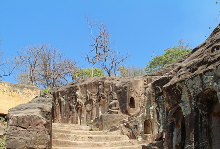 The Pho Vin Taung Caves with old Buddha statues and wall paintings in Moniva, Sagain State, Myanmar, Asia. An interesting tourist destination in Asia.