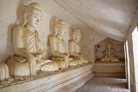 Old Buddha statues at Pho Win Taung Caves, Monywa city, Sagaing State, Myanmar, Asia. New interesting tourist destination.