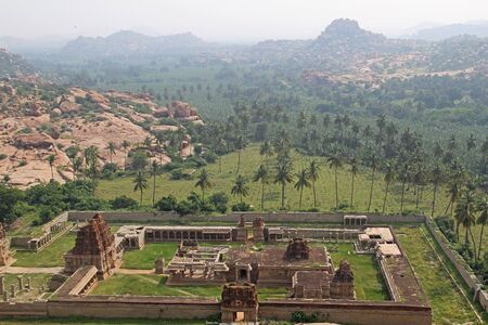 Ariel view of Achyuta Raya Temple and Courtesan's street from Matanga Hill. Sacred Center. Hampi, Karnataka, India.