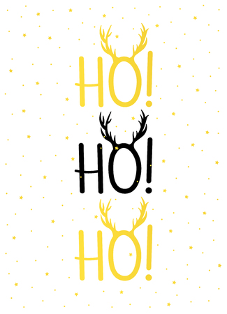 Christmas card gold HO! HO! HO! Ilustrace