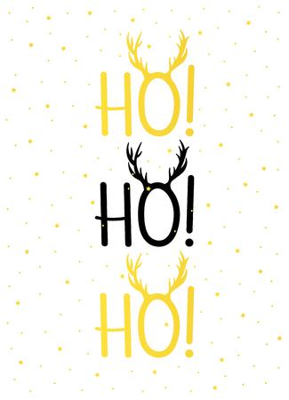 Christmas card gold HO! HO! HO! Illustration