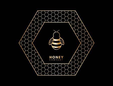 Honey with gold gradient honey bee in honeycombs.