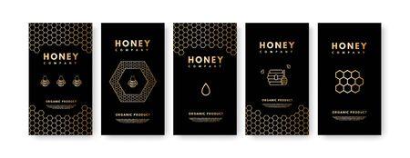 Set of social media Honey Stories on black background