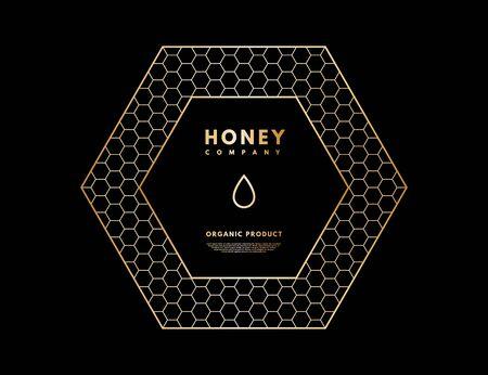 Honey with gold gradient honey drop in frame hexagon.