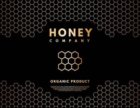 Honey with gold gradient honeycombs in frame. Ilustração