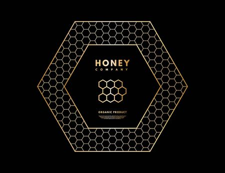 Honey with gold gradient honeycombs in frame hexagon.