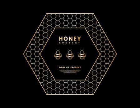Honey with gold gradient honeybee in frame hexagon.