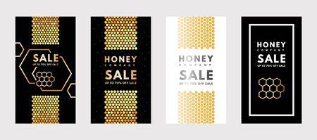 Vector set of social media stories Sale Honey gold gradient honeycombs. Ilustração