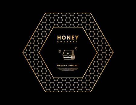 Honey with gold gradient honey bee, beehive and honey stick in frame hexagon. Ilustração