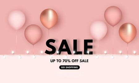 Vector 3D illustration Sale background with realistic pink and gold balloons with white garland. Isolated on pink background.