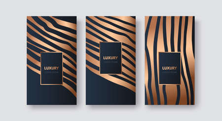 Vector set packaging templates with bronze lines pattern for luxury products, stories of social media, invitation, advertising, cosmetics, chocolate, wine. Isolated on black, blue background.