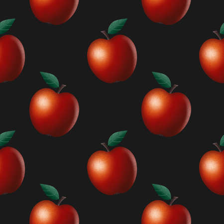 Seamless Pattern of realistic red apples with texture. Vector illustration isolated on black background. 3D render