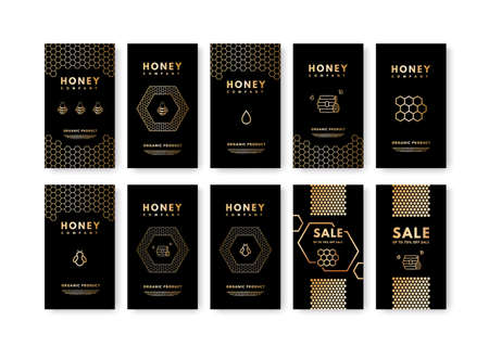 Vector set of social media stories Honey gold gradient honey bee, honeycombs, honey stick, beehive. Design templates, backgrounds, banners, blanks, posters, advertising. Isolated on white background