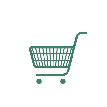 Vector green shopping cart icon illustration isolated from white background.