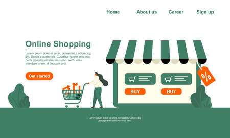 Vector illustration Online shopping, green and orange sale landing page template isolated from white background. Woman rolls shopping cart with purchases.
