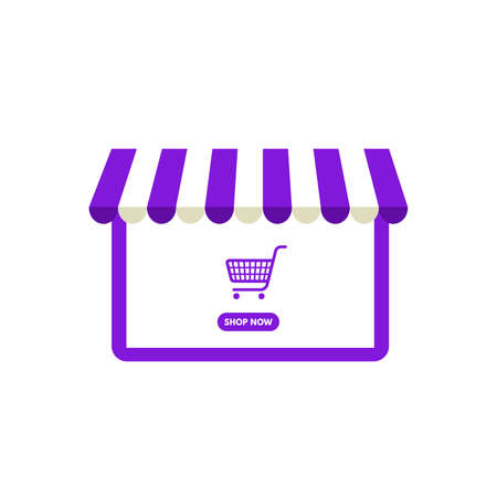 Vector illustration Online shopping, Shop now, violet laptop shop and shopping cart isolated from white background. Ilustrace