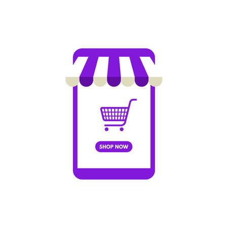 Vector illustration Online shopping, Shop now, violet smartphone shop and shopping cart isolated on white background.