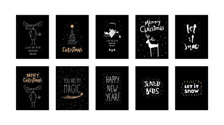 Vector set of black scandinavian Christmas cards with hand lettering Merry Christmas and hand drawn white moose elk with coffee, mountains, spruce, deer, christmas tree isolated on black background.