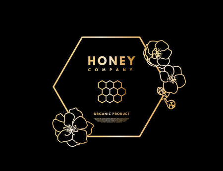 Honey logo with gold gradient honeycombs in frame hexagon with flower. Label banner for company isolated from black background. Vector illustration. Logo
