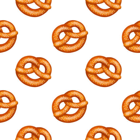 Seamless Pattern of realistic tasty pretzels with salt or sesame, with texture. Raster illustration on white background.