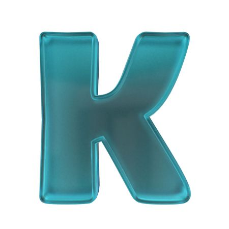 blue frost glass alphabet letter K isolated on white with alpha