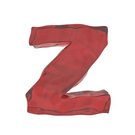 red glass alphabet letter Z isolated on white background with alpha photo