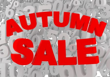 red autumn sale sign on gray background with precents photo