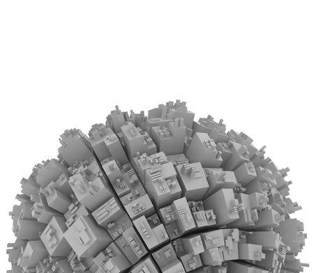closeup scene of gray futuristic city  photo