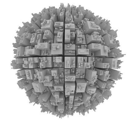3d cg: closeup scene of gray globe with futuristic city