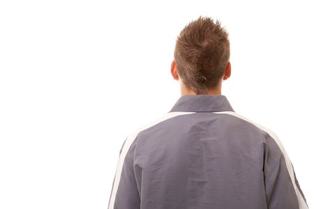 back of young man standing on white background Stock Photo