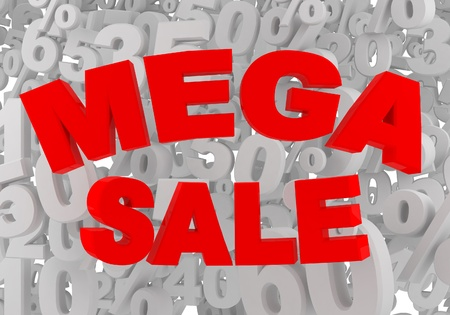 mega sale sign on gray background with percnt signs