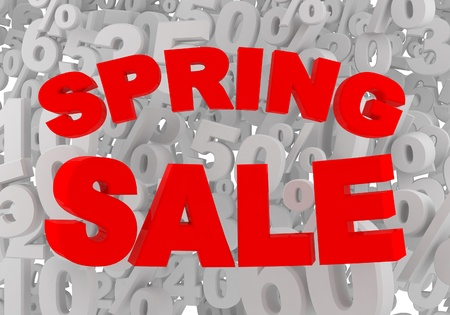 spring sale red sign on gray percent background photo