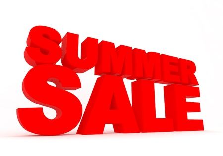 summer sale red sign isolated on white background Foto de archivo