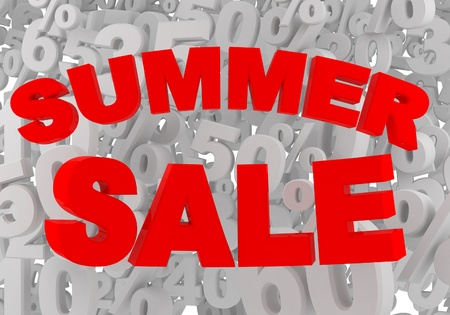 summer sale red sign on gray percent background photo