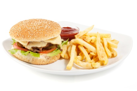 Hamburger with fries on white plate isolated on white background