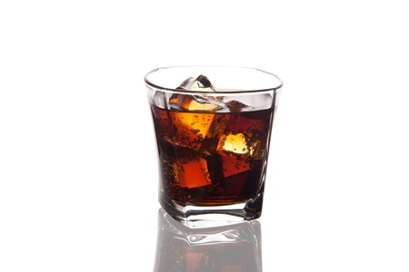 glass of cola with ice on white Stock Photo - 13664615
