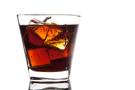 glass of cola with ice on white Stock Photo - 13664618