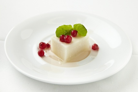 panna cotta desert with mint and cranberries on white plate Stock Photo - 13664629