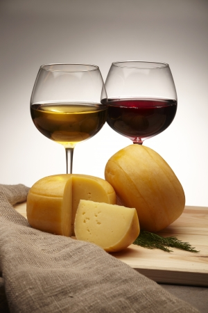 wedges: cheese and wine Stock Photo