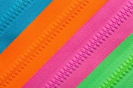 lined colorful closed zipper background