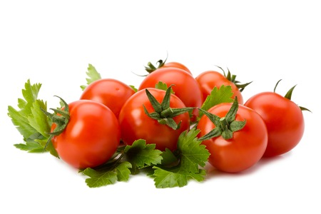 red fresh tomatoes on white background