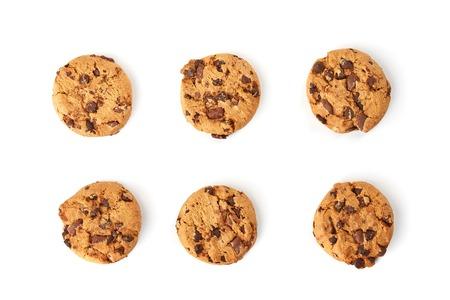 チョコレート クッキーのトップ ビュー 写真素材