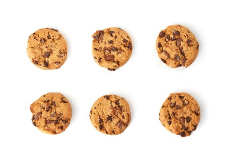 in top: chocolate cookies top view Stock Photo