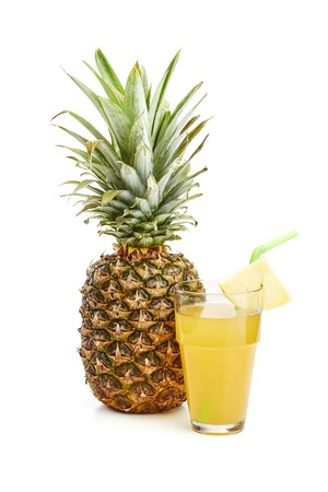 fresh pineapple on white Stock Photo