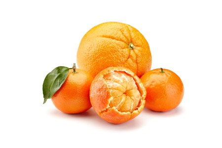 mandarines on white background Stock Photo - 37058755